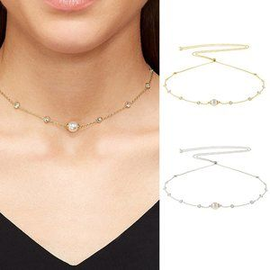 Henri Bendel Zircon Pearl Adjustable Long Necklace